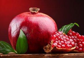 Обои гранат, фрукт, красный, листья, листочек, зерна