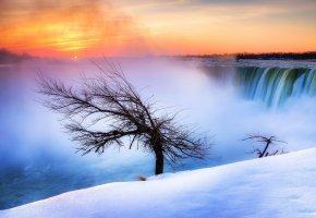 Обои ниагарский водопад, канада, ниагара, река, дерево, зима, снег, утро, солнце
