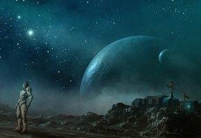 Обои станция, чужая планета, человек, скалы, космос, звезды