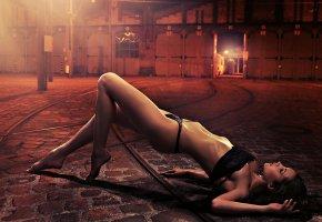 Обои белье, улица, фигура, ножки, тело