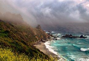 Обои море, пляж, тучи, шторм