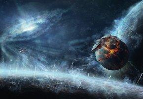 Обои космос, планеты, корабли, разрушение, обломки, квазар