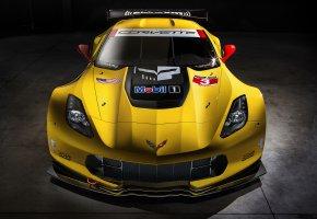 Обои 2014, Chevrolet, Corvette, C7.R, желтая