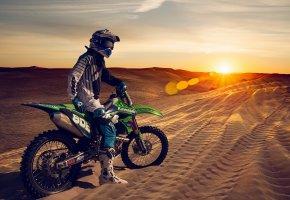 Обои motorcycle, dunes, мотоспорт, песок, дюны