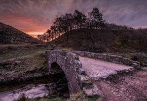 Обои пейзаж, Мост, ночь, река, закат