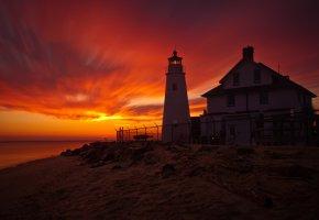 Обои вечер, ночь, закат, небо, красное, маяк