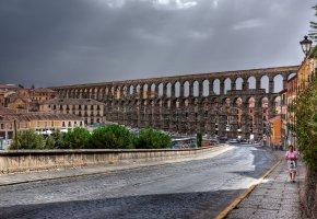 Обои Сеговия, Испания, Римский Акведук, дорога, улица, здания