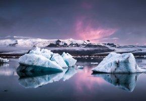 Обои лёд, туман, море, снег, глыбы, скалы, облака, Льдины