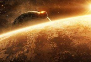 Обои планеты, спутники, удар, кометы, взрыв, ударная волна, звезда, новые миры