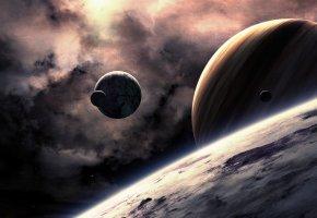 Обои новые миры, планеты, газовый гигант, спутники, галактика