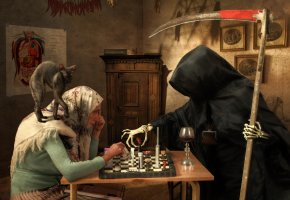 Обои старушка, смерть, игра, таблетки, коса