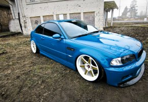 Обои BMW, E46, M3, blue, tuning, бмв