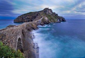 Обои San Juan, Bizkaia, Spain, скалы, море, камни, пейзаж, мост