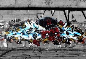 Обои Граффити, graffiti, Q2, OTD crew, wild style, стена, череп, skull