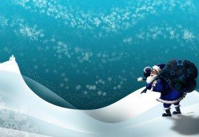 Обои следы, мешок, Дед мороз, подарки, зима, сугробы