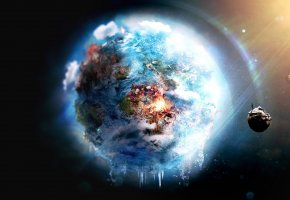 ���� fire, Earth, world, futuristic, frozen, outer space, destruction