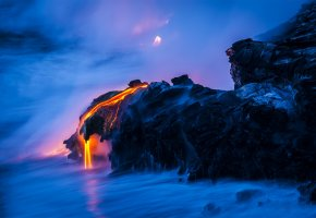 Обои скалы, лава, магма, море, вода, выдержка
