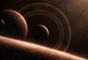 Обои планеты, спутник, кольца, звезды