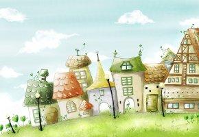 Обои рисунок, облака, небо, город, дома, травка