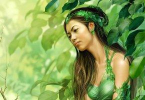Обои лес, девушка, азиатка, деревья, листья, дриада
