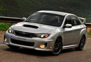 Обои Subaru, Impreza, WRX, STI, Субару, Импреза, седан, передок, серый, дорога