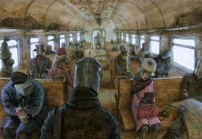 Обои поезд, электричка, роботы, art