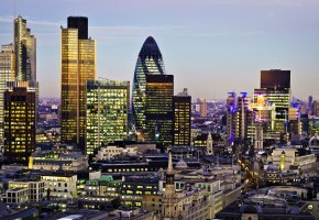 Обои Great Britain, England, London, Canary Wharf, skyscrapers, 30 St Mary Axe, Canada Square, Tower 42, Великобритания, Англия, Лондон, Кэнэри-Уорф, город