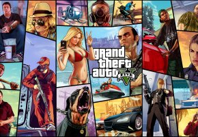 Обои Grand Theft Auto V, gta 5, Franklin, Michael, Trevor, Ron, Lamar, Vasquez, Jimmy, Tracey, Lester, Chop