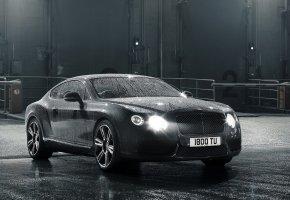 Bentley, car, автомобиль, серый, фары, свет, капли