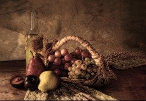 Обои сливы, груши, виноград, натюрморт