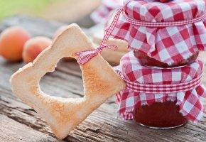 Обои хлеб, джем, варенье, сердце