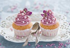 Обои цветы, выпечка, розовый, крем, кексы, десерт, украшение
