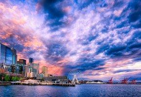 Обои Seattle, сша, небо, облака, море, залив, порт, кран, дома