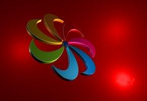 Обои цветок, лепестки, спираль, абстракция, объем, 3D, цвет, краски, радуга