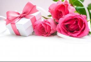Обои цветы, розы, подарок, коробочка