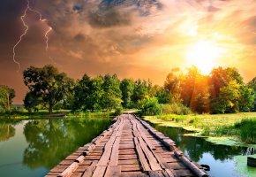 Обои sky, lightning, закат, озеро, небо, мост, молния