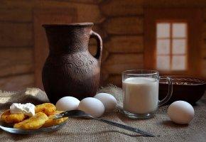 Обои композиция, молоко, натюрморт, пища, яйца