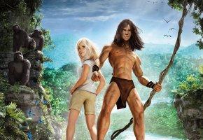 Обои tarzan, тарзан, парень, девушка, гориллы, джунгли
