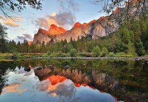 Обои California, горы, пейзаж, озеро, тишина, лес