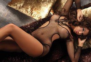 эротическое, белье, тело, модель, грудь