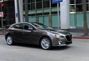 Обои Авто, хэтчбек, мазда, Mazda, 3, серый, металлик