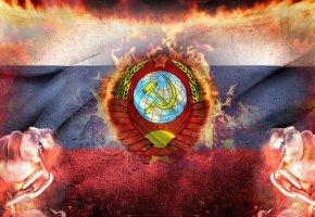 Обои СССР, герб, Флаг, Кулак, Цепь