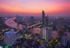 Обои Бангкок, Таиланд, Bangkok, здания, река, закат