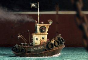 Обои Black Pearl, буксир, кораблик, плывет, 3D