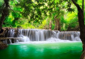 ���� waterfall, river, flow, emerald, water, forest, �������