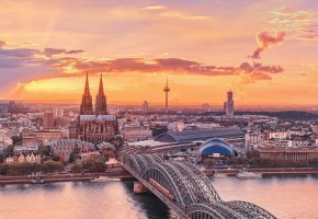 Обои германия, мост, рассвет, река, здания, собор, небо, солнце