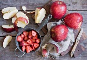 Обои фрукты, ягоды, клубника, яблоки