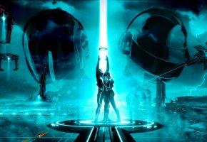 Обои Трон, Tron Legacy, мир, город, корабли, диск