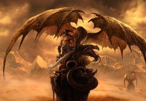 Обои Dragon Eternity, драконы вечности, дракон, воин, скала, крылья, горы, меч, черепа, шлем