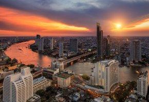 Обои Bangkok, city, night, view, город, река, дома, вечер, закат